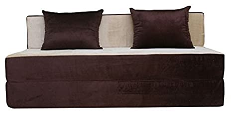 adorn india easy three seater sofa cum bed brown and gold