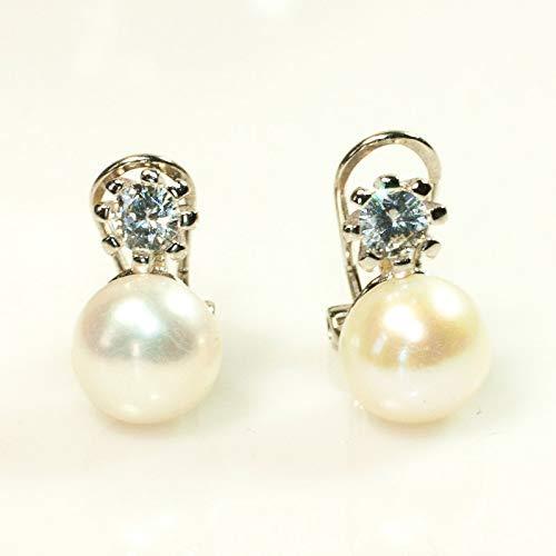 gran selección de d4bc9 16513 Pendientes perla de agua dulce con circonita cierre omega Plata de Ley 925  | Pendientes de plata rodiada |Envío gratis