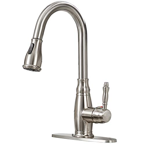 Antique Single Handle Pull Down Sprayer Brushed Nickel Kitchen Faucet, Kitchen Faucet With Deck Plate