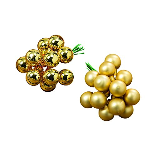 Whole House Worlds The Super Festive Gold Christmas Ball Clusters, 96 Pack, 32 Bundles of 3 Balls, 16 Shiny and 16 Matte Finish, Each Glass Ball is 3/4 Diameter on a 3
