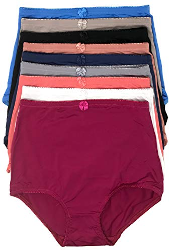 Peachy Panty Women's 6 Pack High Waist Cool Feel Brief Underwear Panties S-5xl (Solid Soft Girdle, Medium) - Panties Cut Brief High Nylon