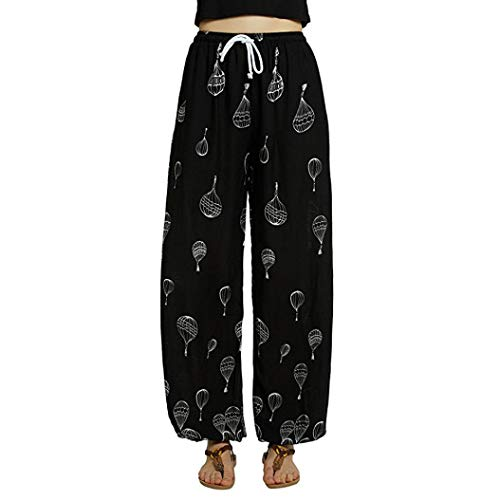 CICIYONER Mujer de Cintura Media Casual Estampado Floral Pantalones de Yoga Boho Pantalones Harem Pantalones de Jogging Negro