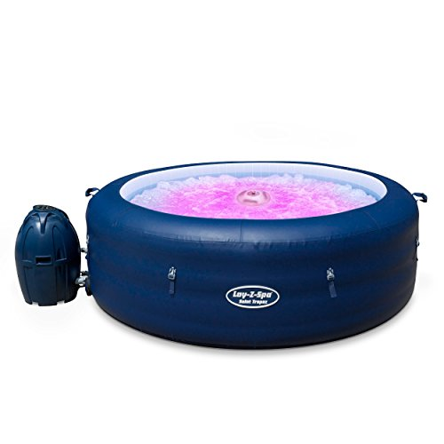 Lay-Z-Spa BW14294 Saint Tropez Hot Tub with Floating LED Light, Airjet Inflatable Spa, 4-6 Person, Blue