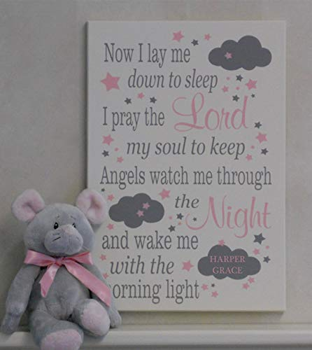 (Now I Lay Me Down To Sleep, PERSONALIZED with Name on Cloud - Baby Girl Baptism Gift for Child Room Decor Light Pink and Gray Wall Art Nursery Child Prayer Wooded Sign in White or Off White)