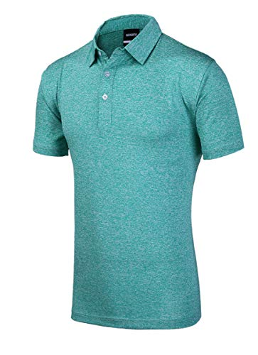 (Men's Quick Dry Golf Shirts, Regular Fit Short Sleeve Polo, Performance Casual Collared T-Shirt, L Turquoise)