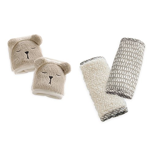 Eddie Bauer 2 Piece Baby Car Seat Plush Strap Covers, Bear, Tan/White