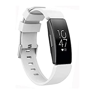 HEYUS White Sport Band Strap for Fitbit Inspire/Inspire HR, Soft TPU Silicone Metal Buckle Replacement Bands Fitness Sports Bracelet Strap for Fitbit Inspire/HR Tracker
