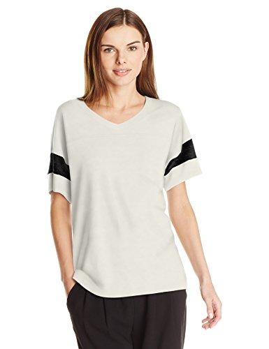Alternative Women's Powder Puff Tee, Ivory/Eco Black, Large Black Organic Womens T-shirt
