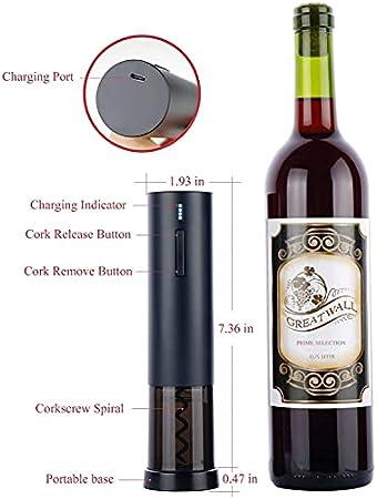 HFFSGS Abridor de vinos eléctricos, sacacorchos eléctricos de Acero Inoxidable de Primera Calidad, abridor de Botellas de Vino sin Cable Recargable USB con Cortador de lámina