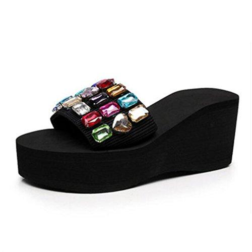 Espesor Black cn36 Sandalias Piscina Playa Con Tacón Mujer De Y Zapatillas Grueso Eu36 Alto color Exterior Zapatos Tamaño Verano Chanclas Muma Black uk4 6gwC1qxBq