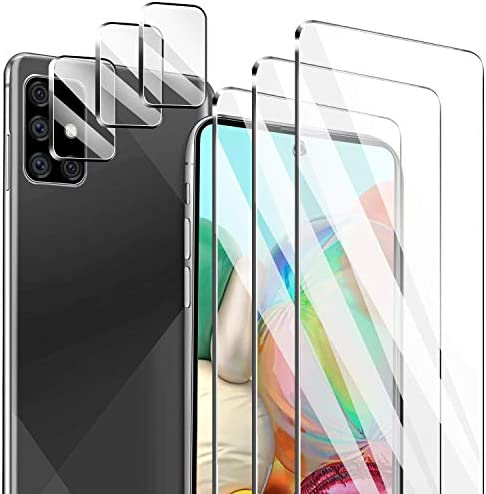 Latch [6 Pack] 3 Pack Screen Protector for Samsung Galaxy A71 4G/5G + 3 Pack Camera Lens Protector for Samsung Galaxy A71 4G/5G Tempered Glass HD Clear [Anti-Scratch] [Case Friendly] [Bubble Free]