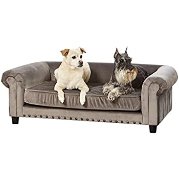 Captivating Enchanted Home Pet Manchester Velvet Tufted Pet Sofa In Grey