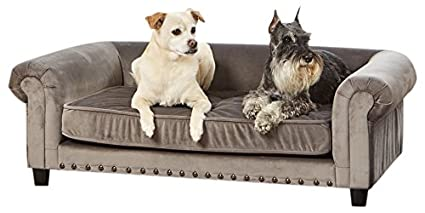 Attirant Enchanted Home Pet Manchester Velvet Tufted Pet Sofa In Grey