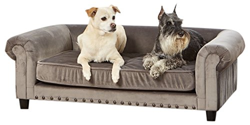 - Enchanted Home Pet Co2786-16Gry Manchester Velvet Tufted Pet Sofa in Grey