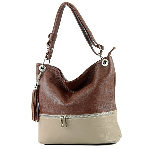 Schokobraun taupe De Shoulder Bag Leather T143 Modamoda Ital w7CYcq