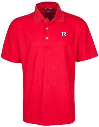 Oxford NCAA Rutgers Scarlet Knights Men's Micro-Check Golf Polo, Cardinal, Large