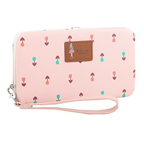 Leather Phone Clutch Wallet for Ladies Large Wristlet Hard Case Long Purse for iPhone X / 8 / 8 Plus / 7 / 7 Plus Samsung Galaxy S8 / S7 / NOTE 8 / NOTE 6 MINI Checks Flowers Pattern (Light Pink)