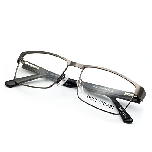 bisagra Grau de hombres gafas y óptico de hombre con para metal Gafas marco flexible gafas lentes los claras primavera OCCI de CHIARI rectangular estilo de prescripción marco los Marco xfpqzHanw