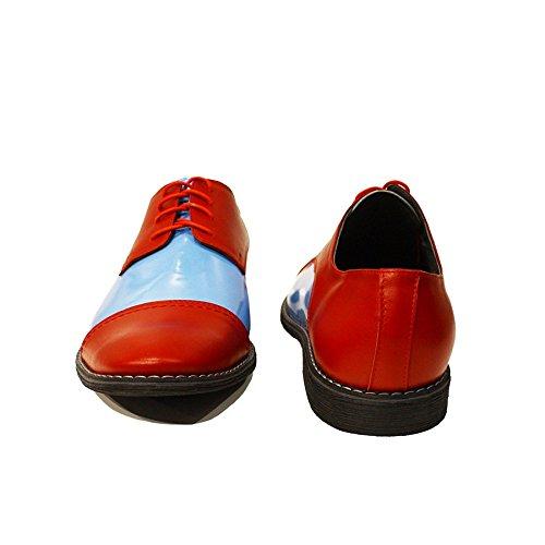 Modello Paolo - Handgemachtes Italienisch Leder Herren Rot Oxfords Abendschuhe - Rindsleder Lackleder - Schnüren