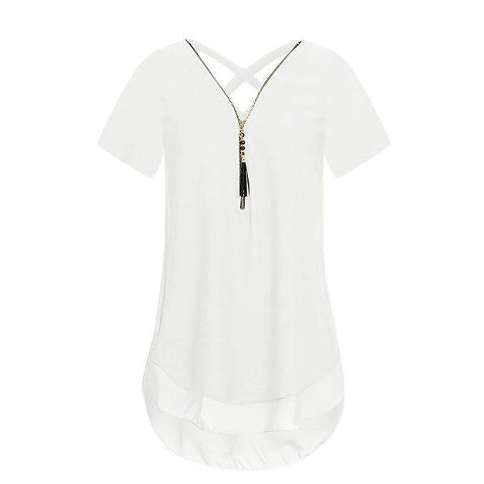 Manga corta,Ba Zha Hei Camiseta de manga corta con cuello en V de blusa ropa con cremallera y cuello en V para mujer Moda mujer de camisetas camiseta de ...