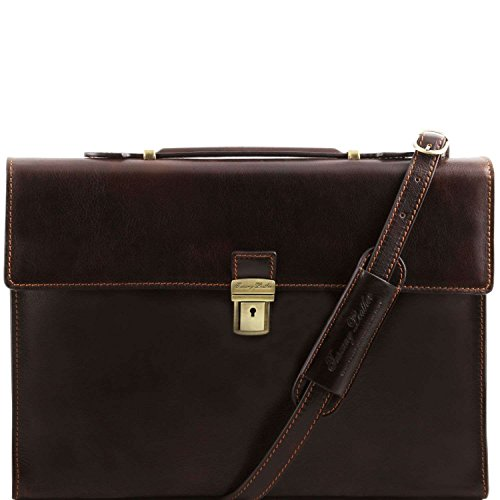 Tuscany Leather - Como - Serviette Porte-documents en cuir - Marron foncé