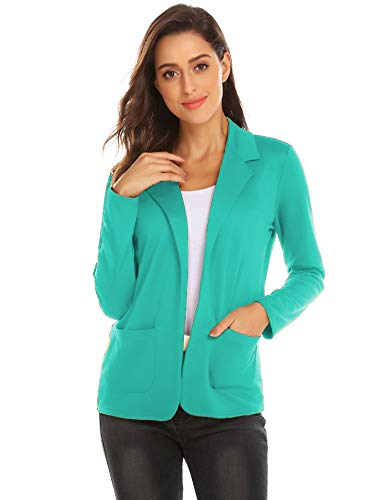Zeagoo Womans Open Front Casual Knit Blazer Jacket Plus Size Lightweight Boyfriend Cardigan (Peacock Blue, L) ()