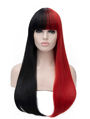 Red And Black Wig (Tsnomore long Straight Women Cosplay Synthetic Wig (Black and Red))