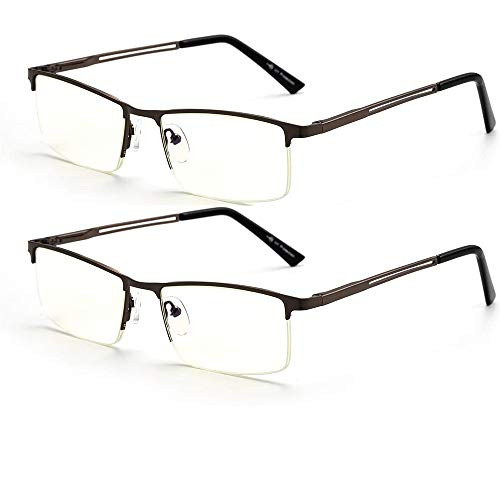 2-Pack Blue Light Blocking Reading Glasses for Men and Women, Computer Glass