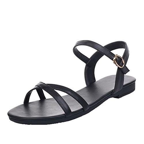 AalarDom Mujer Hebilla Puntera Abierta Mini Tacón Pu Sólido Sandalias de vestir Negro-CHUN