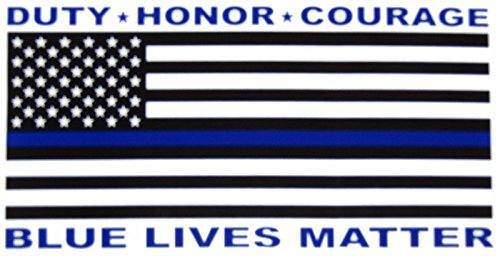 ALBATROS (6 Pack) USA Police Blue Lives Matter Duty Honor Decal Bumper Sticker for Home and Parades, Official Party, All Weather Indoors Outdoors