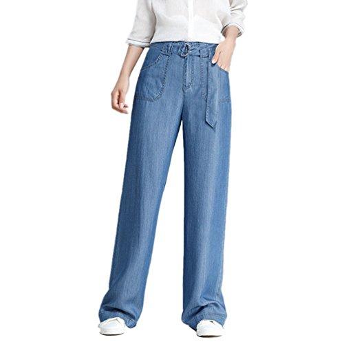 Casuale Sciolto Donna Largo Denim Pantaloni Anguang Jeans Forma Bendare Gamba In Blu UWaqwFFt