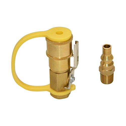 Gas Plug Valve (Stanbroil Propane or Natural Gas 1/4 Quick Connect Kit - Shutoff Valve & Full Flow Plug, Solid Brass)