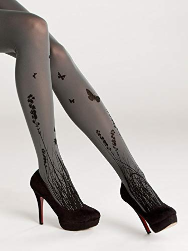 Meadow Printed Footed Tights for Women Superb Quality Opaque Pantyhose Floral Pantyhose ()