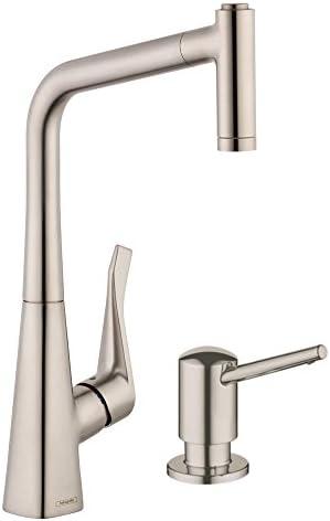 Hansgrohe KK14820-04539SO Metris HighArc Kitchen 2-Spray Faucet with Soap Dispenser Steel Optik, Steel Optik