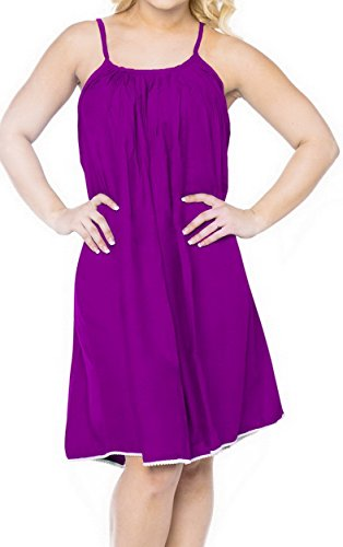 LA LEELA PV Solid Short Caftan Beach Dress Women Violet_1692 OSFM 14-16W [L-1X] by LA LEELA