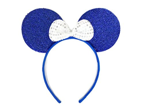 MeeTHan Mickey Mouse Minnie Mouse Ears Headband Sequin : M1 (Blue)