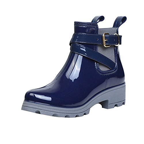 Limsea Women Footwear Waterproof Casual Water Rain Boots Short Glossy Ankle Length PVC Shallow