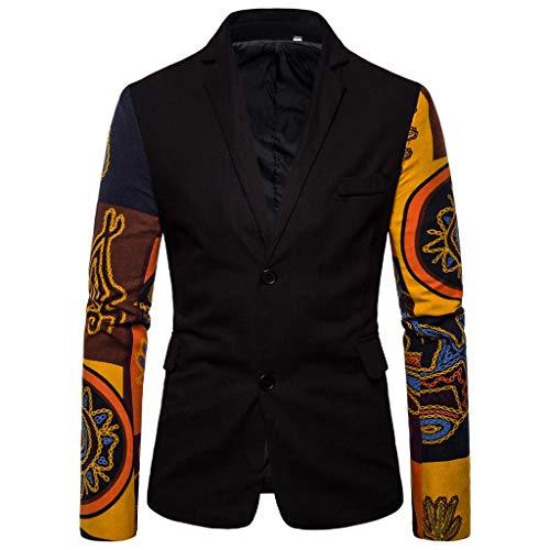Cuekondy Mens Casual Slim Fit Blazer Vintage Ethnic Printed Dress Floral Suit Long Sleeve Jacket Sports Coats