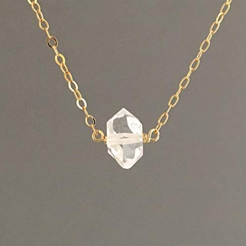 Black Single Naturals Light - Single Solitaire Herkimer Diamond Quartz Necklace available in gold fill, rose gold fill or silver