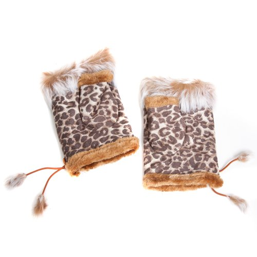 Leopard Print Fingerless Gloves - Accessoryo Women's Leopard Print Design Fingerless Fashion Gloves with Faux Fur Tassels One Size Multicoloured