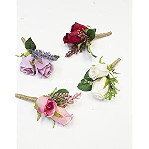 Sweet Home Deco Silk Rose Bud Wedding Boutonniere Groom and Groomsmen 62