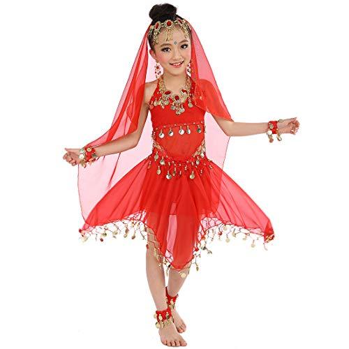 Belly Dance Costume Girls Party Fancy Dress Shiny Carnival Outfit, Kids Arabian Princess Clothes Cosplay Dancewear (Red) -