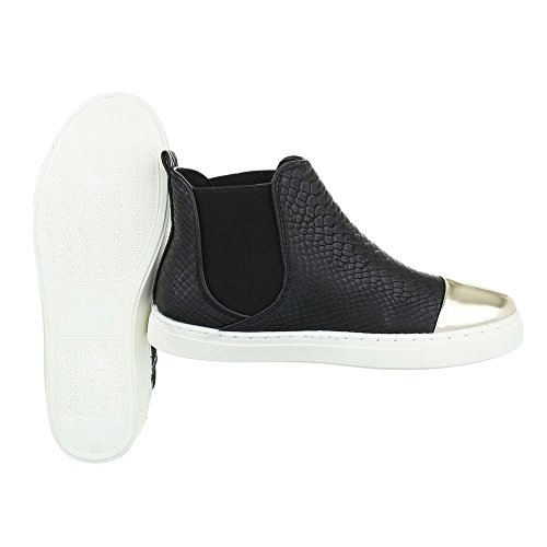 Ital-Design Chelsea Boots Damenschuhe Moderne Stiefeletten Schwarz L6206