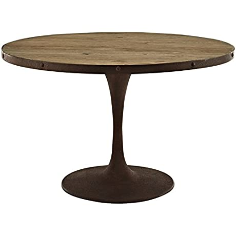 Modern Contemporary Industrial Antique Vintage Style Kitchen Round Dining Table Brown Metal Wood