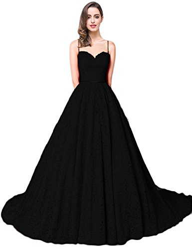 YIRENWANSHA Fashion Wedding Dress 2018 Spaghetti Strap Lace Appliqued Sweetheart Prom Party Dresses For Women Long Sleeveless Empire Waist Evening Gown With Sweep Train Y048 Black Size 6 (Design Sweep Train)