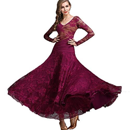 Vestiti Per Valzer Moderna l Donna Comune Purple tulle Alto Chiffon Vestito Xl Abito pizzo Prestazioni Wqwlf Balli Foxtrot Da Naturale Sala gpqw1t41