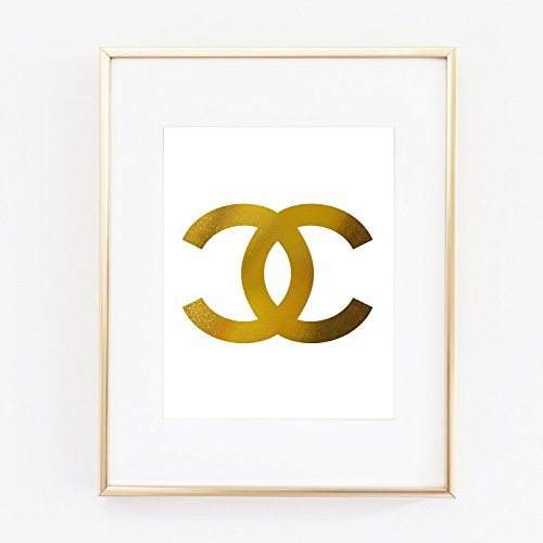 Coco CC Girl Gold Foil Art Wall Print distance Prada like Marfa distance Gossip Fashion Vouge Color Black poster 0419 - Chanel Gold