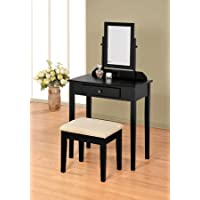 Square Style Black Vanity Set with Mirror, Table, Stool