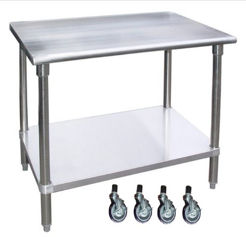 Amazoncom WORKTABLE WITH CASTERS WHEELS STAINLESS STEEL FOOD - Stainless steel work table with casters