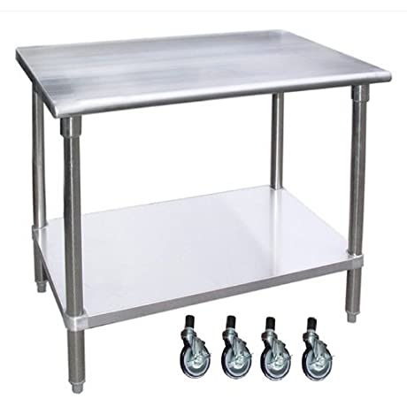 WORK TABLE WITH WITHOUT 4 CASTERS WHEELS STAINLESS STEEL FOOD PREP WORKTABLE 30 X 12
